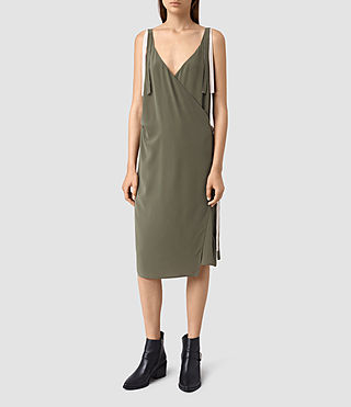 Womens Vea Silk Dress (Light Khaki)