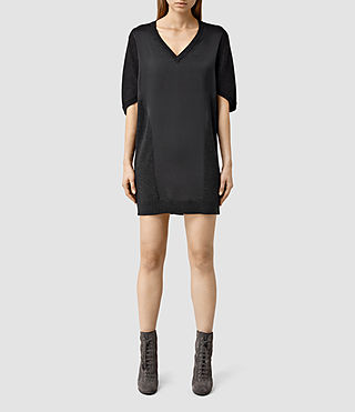 Womens Elwar Panel Dress (Cinder Black Marl)