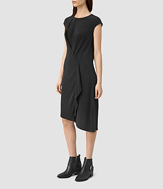 Womens Breeze Silk Dress (Black) - product_image_alt_text_3