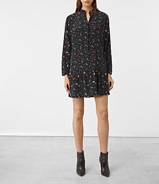 Femmes Lin Rose Silk Dress (Black)