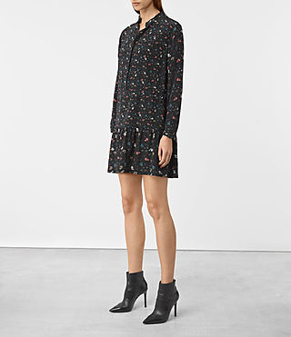 Damen Lin Rose Silk Dress (Black) - product_image_alt_text_3