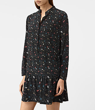 Damen Lin Rose Silk Dress (Black) - product_image_alt_text_4