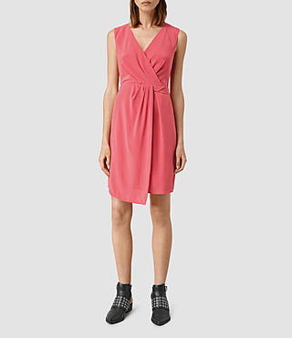 Womens Peak Silk Dress (SORBET PINK)