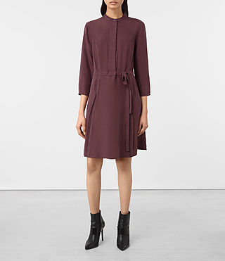 Mujer Volta Perry Silk Dress (Damson Red)