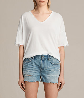 Damen Ada V-Neck Tee (Chalk White) -