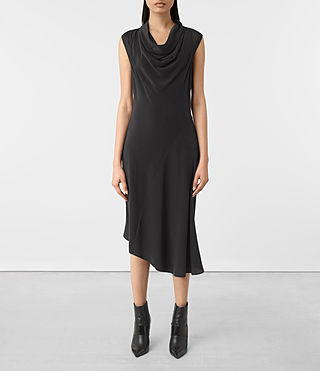 Mujer Malina Silk Dress (Black)