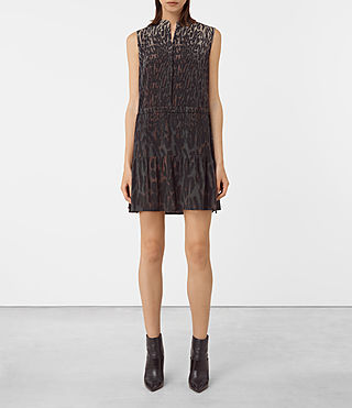 Femmes Lin Sinai Silk Dress (TAUPE LEOPARD)