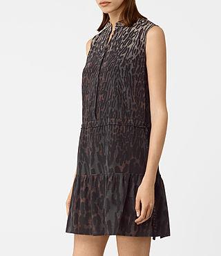 Womens Lin Sinai Silk Dress (Taupe) - product_image_alt_text_2