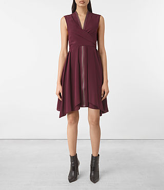 Damen Jayda Silk Dress (Maroon) -