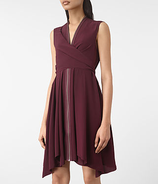 Damen Jayda Silk Dress (Maroon) - product_image_alt_text_2