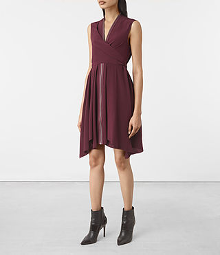 Damen Jayda Silk Dress (Maroon) - product_image_alt_text_3