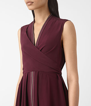 Damen Jayda Silk Dress (Maroon) - product_image_alt_text_4