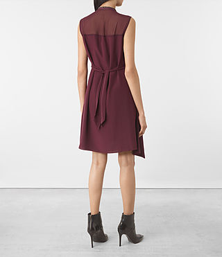 Damen Jayda Silk Dress (Maroon) - product_image_alt_text_5