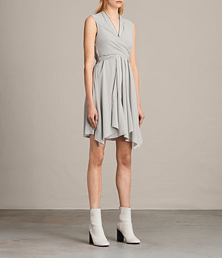 Womens Jayda Silk Dress (STORM GREY) - Image 3