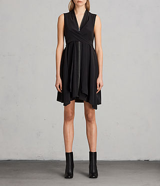 Womens Jayda Silk Dress (Black) - product_image_alt_text_1