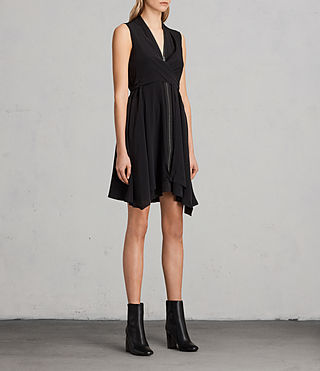 Womens Jayda Silk Dress (Black) - Image 3