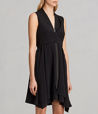Womens Jayda Silk Dress (Black) - Image 6
