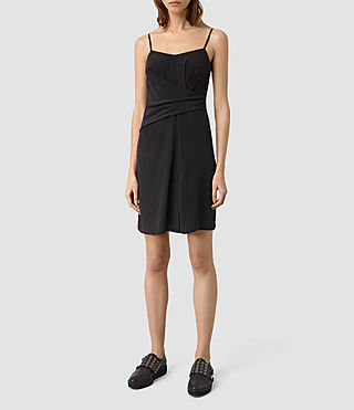 Donne Rywen Short Silk Dress (Black)