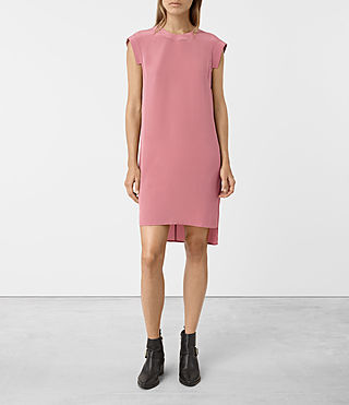 Womens Tonya Silk Dress (MAUVE PINK) - product_image_alt_text_1