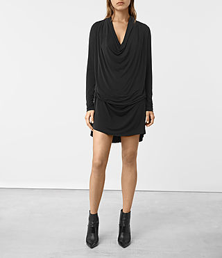 Womens Amei Long Sleeved Dress (Black)