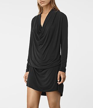 Womens Amei Long Sleeved Dress (Black) - product_image_alt_text_2