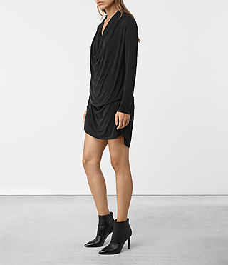 Womens Amei Long Sleeved Dress (Black) - product_image_alt_text_3