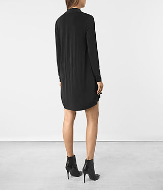 Women's Amei Long Sleeved Dress (Black) - product_image_alt_text_4