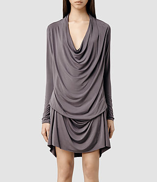 Womens Amei Long Sleeved Dress (Pewter)