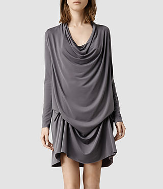 Womens Amei Long Sleeved Dress (Dark Grey)