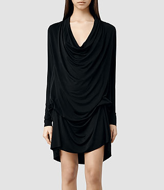 Womens Amei Long Sleeve Dress (Black) - product_image_alt_text_1