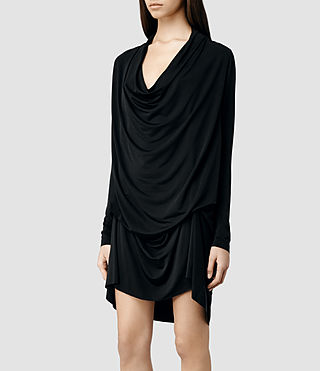 Womens Amei Long Sleeve Dress (Black) - product_image_alt_text_2