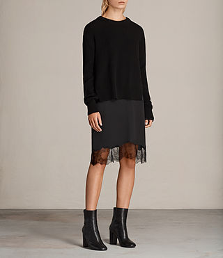 Womens Eloise Long Sleeve Dress (Black) - product_image_alt_text_3