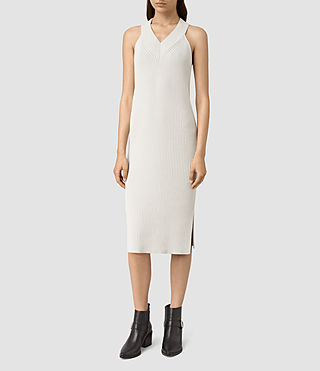 Womens Orro Knitted Dress (PORCELAIN WHITE)