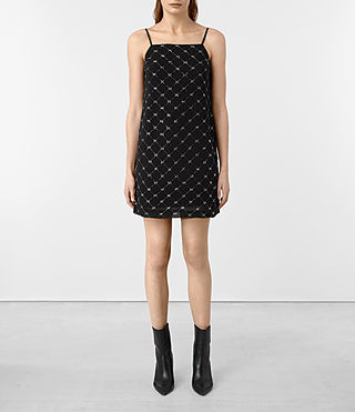 Womens Wire Embellished Slip Dress (Black)