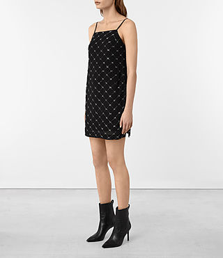 Womens Wire Embellished Slip Dress (Black) - product_image_alt_text_3