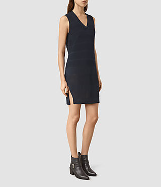 Femmes Fix Mesh Dress (NAVY BLUE) - product_image_alt_text_3