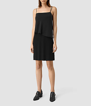 Mujer Mira Silk Dress (Black) - product_image_alt_text_1