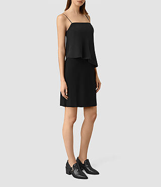 Mujer Mira Silk Dress (Black) - product_image_alt_text_3