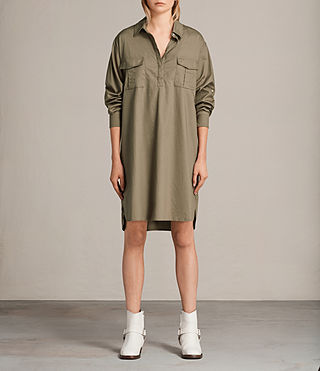 Womens Lamont Shirt Dress (Khaki Green) - product_image_alt_text_1