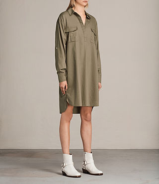 Womens Lamont Shirt Dress (Khaki Green) - product_image_alt_text_3