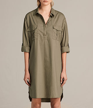 Womens Lamont Shirt Dress (Khaki Green) - product_image_alt_text_5
