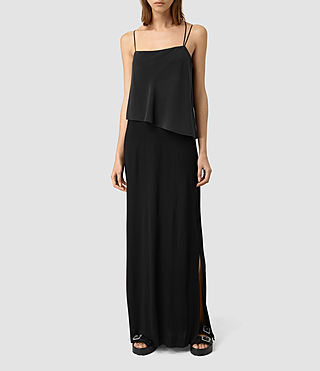 Mujer Mira Long Silk Dress (Black)