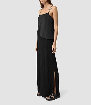 Womens Mira Long Dress (Black) - product_image_alt_text_3
