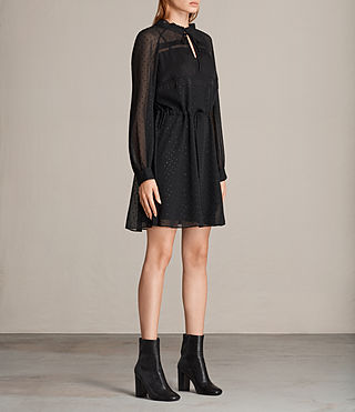 Womens Veda Shimmer Dress (Black) - Image 3