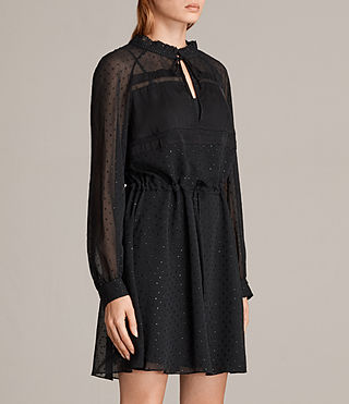 Womens Veda Shimmer Dress (Black) - Image 4