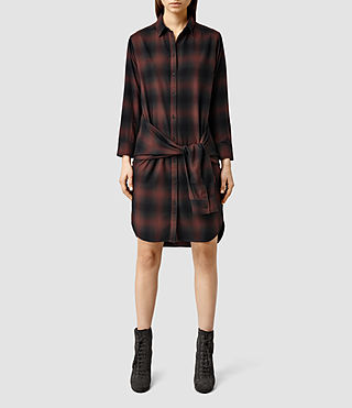 Womens Cannan Check Dress (Red)