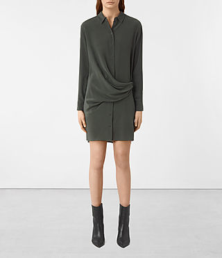 Women's Milton Silk Dress (SMOKE BLACK)