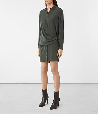 Women's Milton Silk Dress (SMOKE BLACK) - product_image_alt_text_2