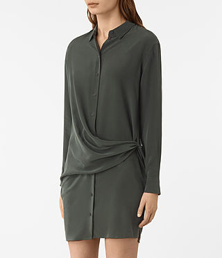 Women's Milton Silk Dress (SMOKE BLACK) - product_image_alt_text_3
