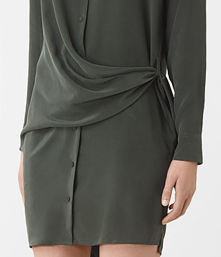 Women's Milton Silk Dress (SMOKE BLACK) - product_image_alt_text_4
